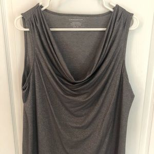 Sparkly grey cowl neck tank